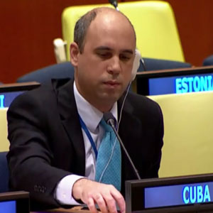 Juan Miguel González Peña, First Secretary of the Mission of Cuba to the United Nations. Juan Miguel has a degree in economics from the University of Havana (2093) and a Master in International Economic Relations from the Raul Roa Garcia Higher Institute of International Relations of Cuba (2006).
